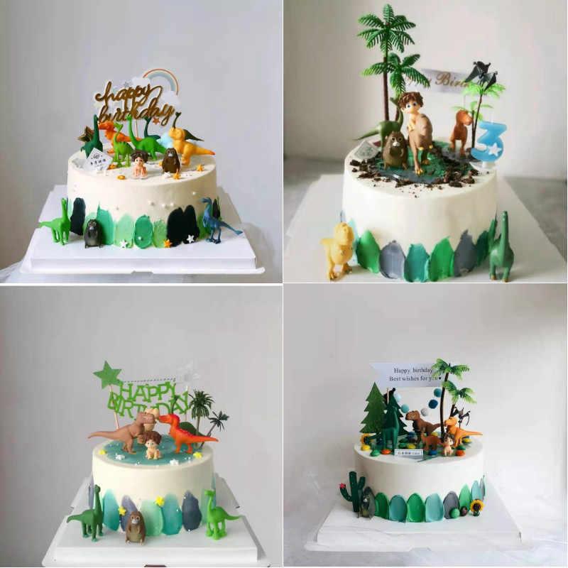 12 ชิ้น/เซ็ตไดโนเสาร์เค้ก Topper เค้กวันเกิดตกแต่งเด็กทารกเด็กไดโนเสาร์เบเกอรี่ตกแต่งของเล่นเด็ก Jungle PARTY