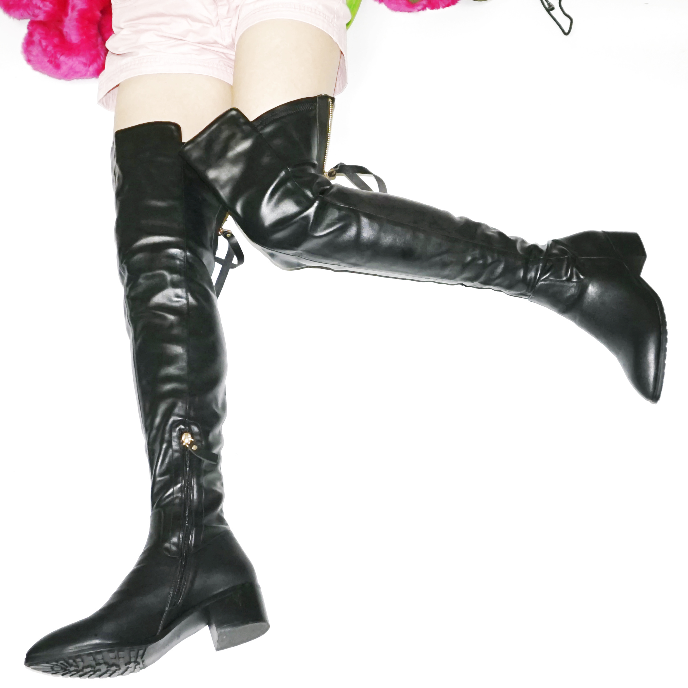 Cuissardes noires femmes chaussures noir bout pointu sur le genou chaussons hiver chaud Long arbre plate-forme Oxfords chaussures décontractées