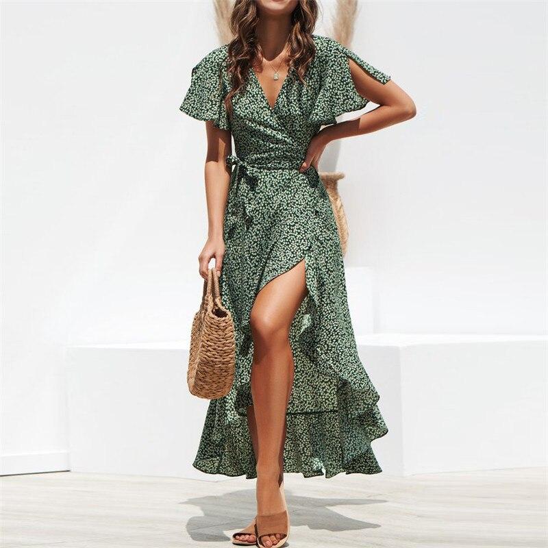 Maxi Dress Women Summer Beach Floral Printed Boho Long Chiffon Robe Ruffles Wrap Casual V-Neck Split Sexy Party Dress Femme