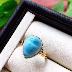 Image 1 - Anel ajustável de cristal do ouro 18k da forma 19x16x13mm aaaaa certificado natural anel de larimar azul para a festa de aniversário da mulher