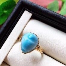 Certificaat Natural Blue Larimar Ring Voor Vrouw Party Verjaardagscadeau 19X16X13 Mm Fashion 18 K Gold crystal Verstelbare Ring Aaaaa