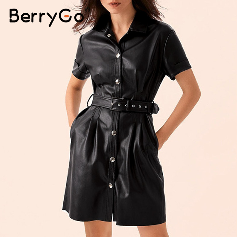 BerryGo High Street Black PU Leather Dress Women Single Breasted Belt High Waist Faux Leather Dress Office Ladies Bodycon Dress