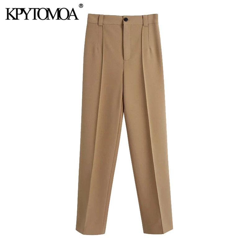 Женские прямые брюки KPYTOMOA, винтажные офисные брюки с высокой талией и молнией, 2020