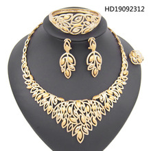 Yulaili Trendy African Wedding Jewelry Sets for Women Charm Rhinestone Necklace Bracelet Earrings Ring Nigerian Bridal Jewellery a suit of stylish rhinestone irregular wave necklace bracelet ring and earrings for women