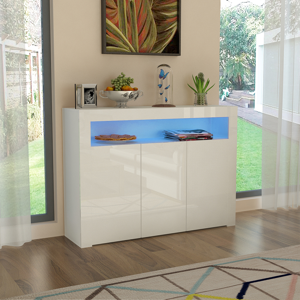 Panana Modern Living Room Cupboard Unit Matt Body & White High Gloss Fronts Cabinet Furniture Wall Shelf