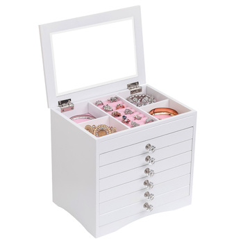 High Large Gloss Wooden Jewellery Box Armoire Bracelet Organizer Storage 5 Layers Glass White Wooden