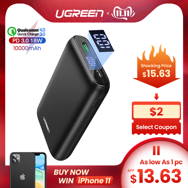 Ugreen Power Bank 10000mAh Quick Charge 4.0 3.0 QC3.0 External Mobile Battery Fast PD Charger For IPhone 11 8 Xs Mini Powerbank