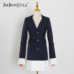 TWOTWINSTYLE Elegant Stripe Patchwork Ruffle Blazer Notched Flare Sleeve Hit Color Sashes Female Suit Spring Fashion New 2020