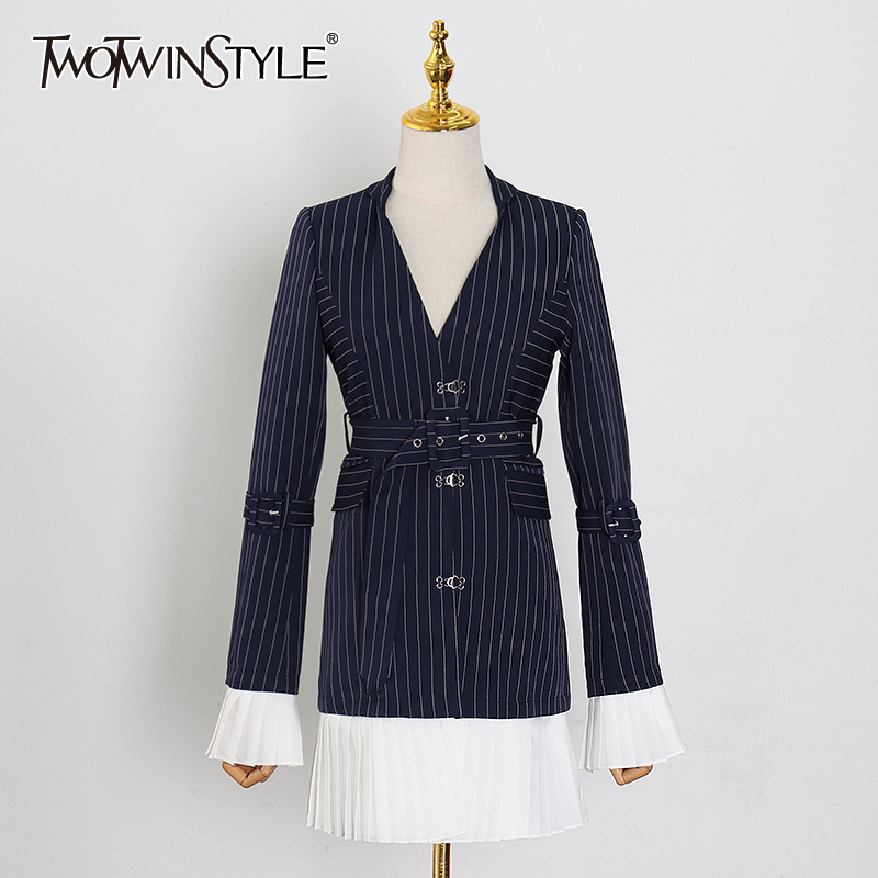TWOTWINSTYLE elegante raya Patchwork blazer con volante con muesca manga de llamarada de Color de golpe fajas traje femenino primavera moda nuevo 2020