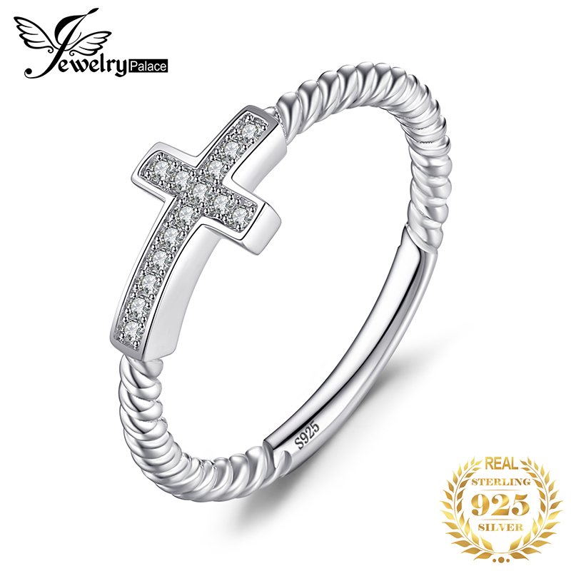 JewelryPalace Cross Sideway Anniversary Cubic Zirconia Rings 925 Sterling Silver Rings For Women Silver 925 Jewelry Fine Jewelry