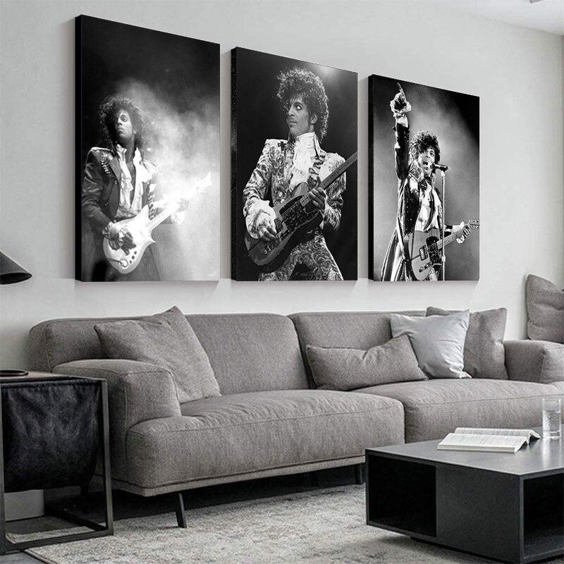 Prens Rogers Nelson duvar sanat posterleri amerika şarkıcı yıldız figürü tuval boyama siyah beyaz duvar resimleri için oturma odası dekor