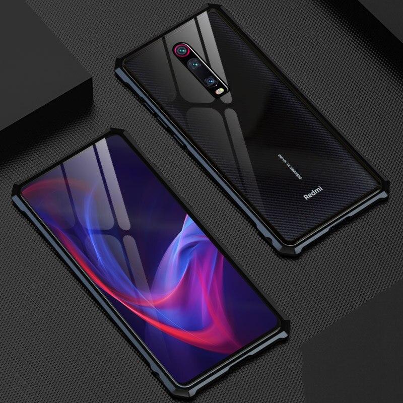 Luxury Rhombus Aluminum Metal Phone Case For Xiaomi Mi 9T Redmi K20 Pro Back Tempered Glass Cover For Xiaomi Redmi K20/ Pro Case