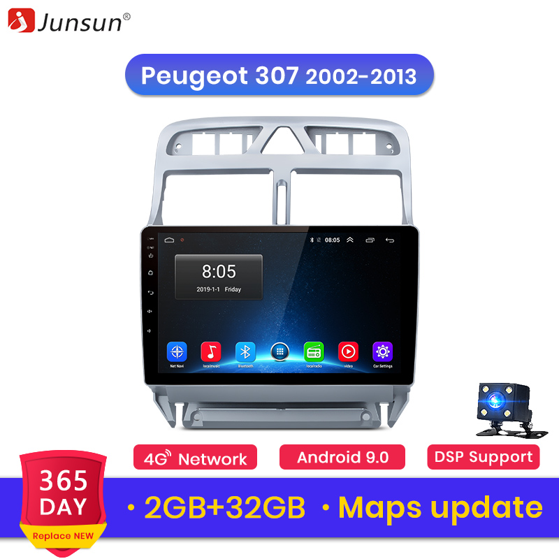 Junsun V1 2G + 32G Android 9.0 For Peugeot 307 2002 – 2008 – 2013 Car Radio Multimedia Video Player Navigation GPS 2 din dvd