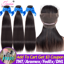JARIN Peruvian Straight Hair Human Hair 3 Bundles With Closure 360 Lace Frontal Natural Color Remy Hair Extension Can Do Wigs
