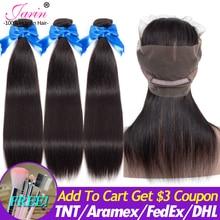 เจวารินแป้งหอม Peruvian Straight Hair Human Hair 3 กลุ่มที่มีการปิด 360 ด้านหน้าลูกไม้สีธรรมชาติ Remy Hair Extension Can Do วิกผม