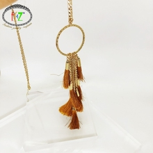 F.J4Z Fashion Women Long Pendant & Necklace Designer Brown Tassel Big Circle Geo Female Necklaces Jewelry Gifts wholesale geo embroidery tassel detail blouse
