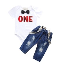 1st Birthday Outfit for Boy Cute Baby Cake Smash Clothes Denim Suspender Pants Sets Autumn Set
