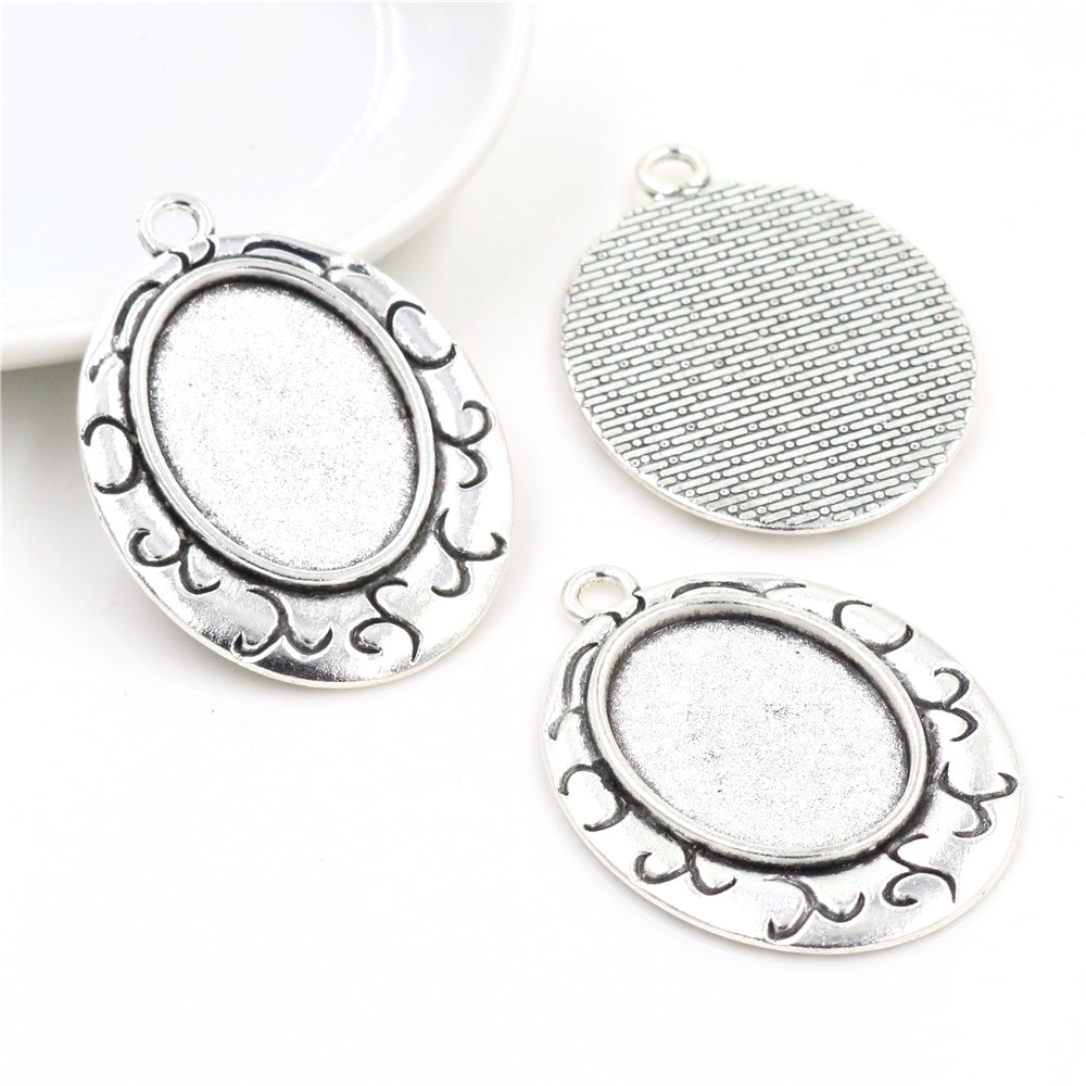 3pcs 18x25mm Inner Size Antique Silver Plated Flowers Style Cameo Cabochon Base Setting Pendant Necklace Findings  (C2-36)
