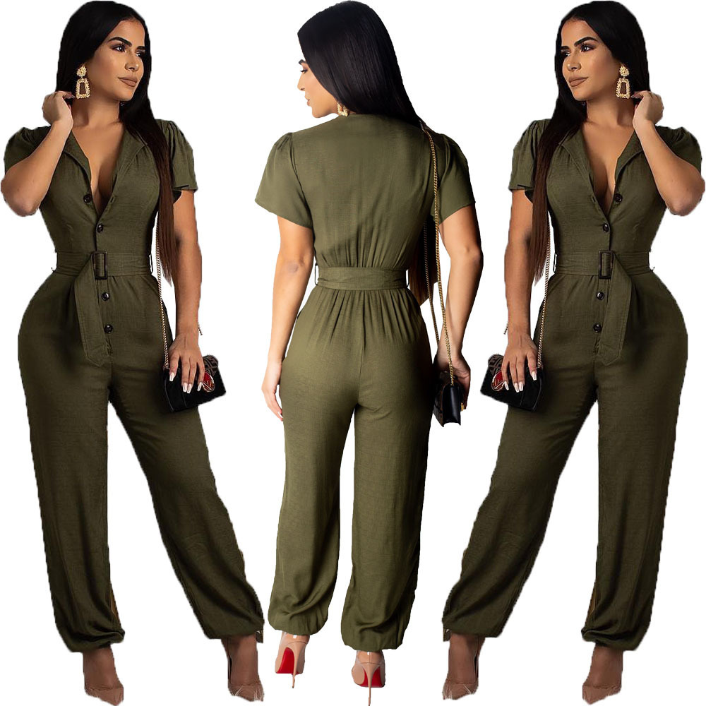 2019 New European And American Women's Fashion Temperament Casual Sexy Features Solid Color Jumpsuit Trousers With Belt