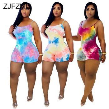 Spaghetti Strap Sexy Plus Size Bodysuit For Women Tie Dyeing Print Elastic Bodycon Playsuit Casual High Waist Sleeveless Romper graceful spaghetti strap floral print plus size underwire bikini set for women