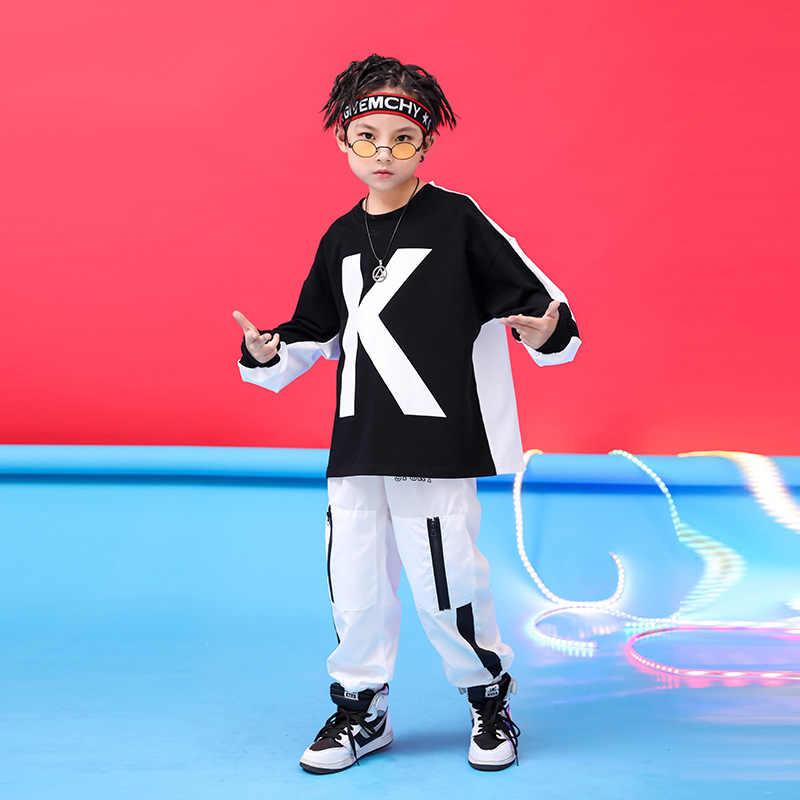 Chico Cool Hip Hop ropa negro blanco sudadera de gran tamaño superior corriendo pantalones casuales para chica chico Jazz danza traje ropa
