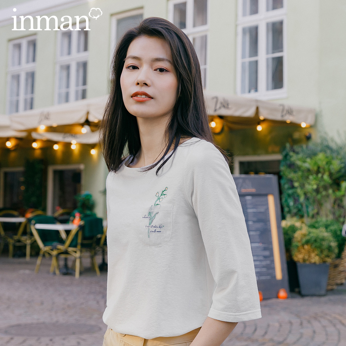 INMAN 2020 Spring New Arrival Literary Pure Color Boat Neck Lace Chest Loose Sleeve Woman T-shirt