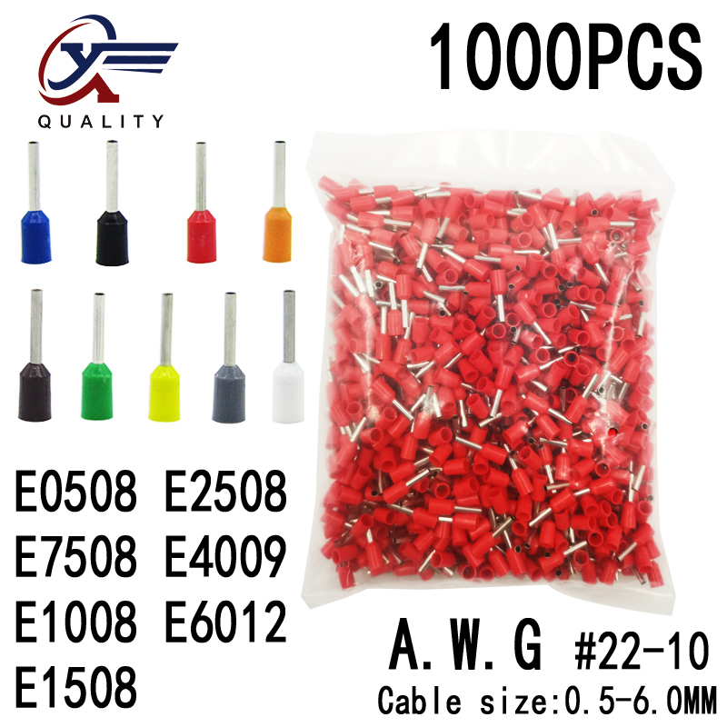 1000pcs/Pack E0508 <font><b>E1008</b></font> E1508 E2508 E4009 Insulated Ferrules Terminal Block Cord End Wire Connector Electrical Crimp Terminator image