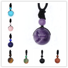 100-Unique 1 Pcs Ethnic Amethysts Stone Round Beads Pendant Green Agates Necklace with Handmade Black Rope Chain Jewelry