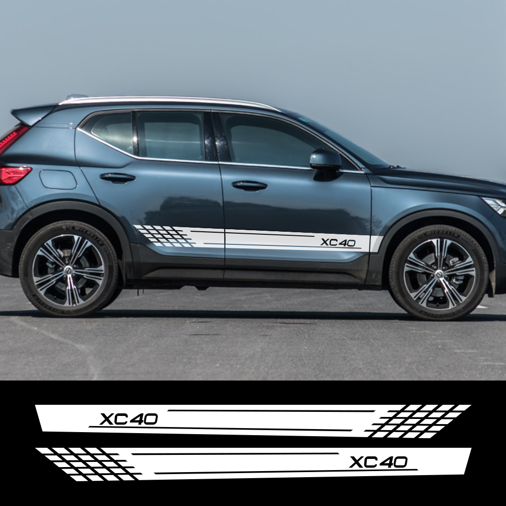 2pcs Car Side Stripe Stickers Personalized Auto Sport Styling Decals Decoration For Volvo XC40 XC60 XC90 Tuning Car Accessories