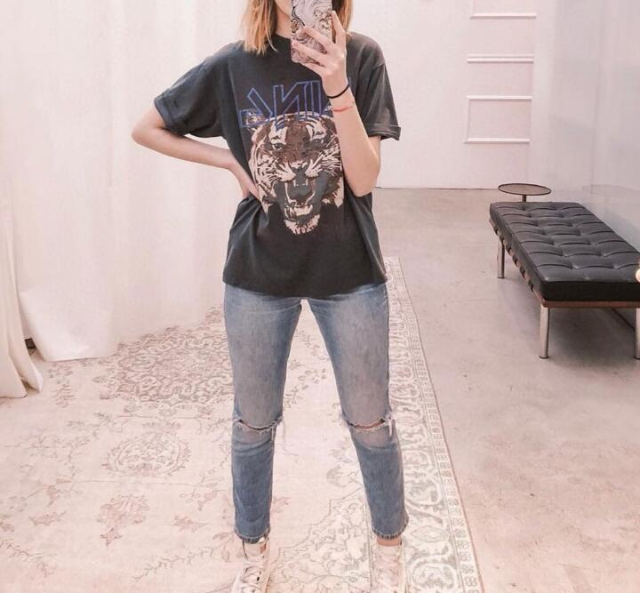 Female Summer INS Fashion Big Tiger Head Letter Printed Short-sleeved T-shirt Shirt