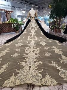 Image 2 - BGW 3222ht Черное вечернее платье длинное для женщин с круглым вырезом и v образным вырезом сзади Золотое кружевное нарядное платье со съемным шлейфом 2020