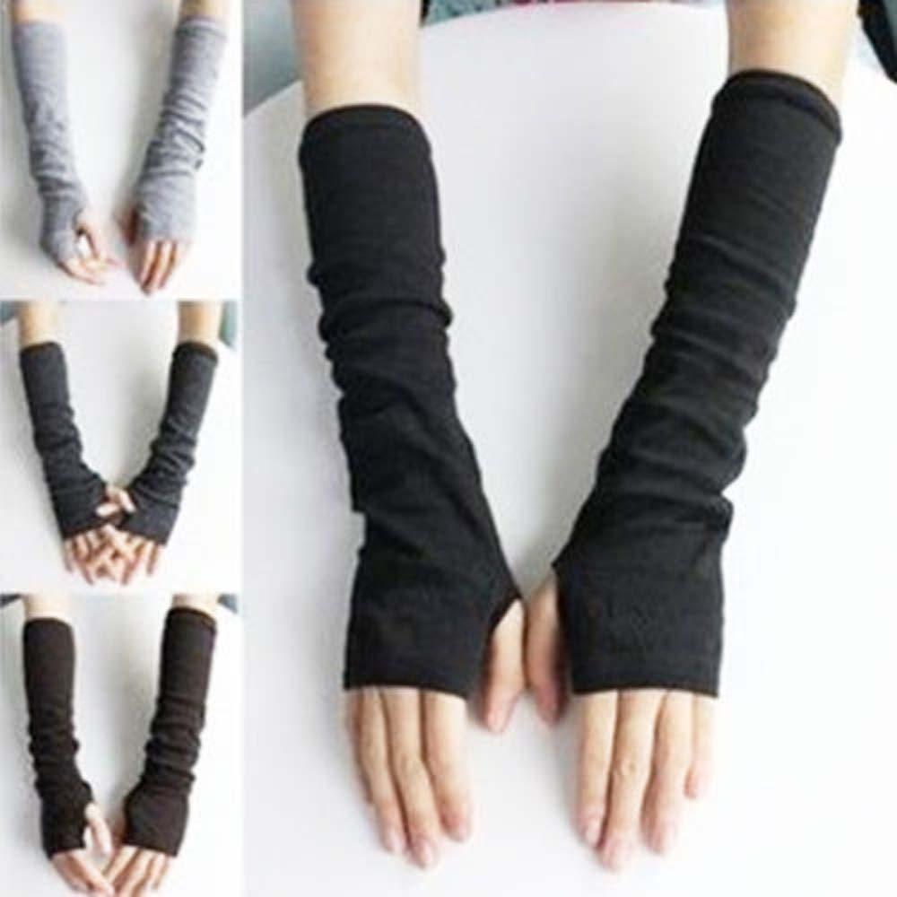 Fashion Girls Autumn  Winter Knitted Fingerless Gloves Soft Long Mitten Winter Arm Sleeve Wristband Mittens Knitting