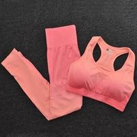 BraPantsOrange - Women's Sportwear Seamless Fitness Gradient Yoga Set