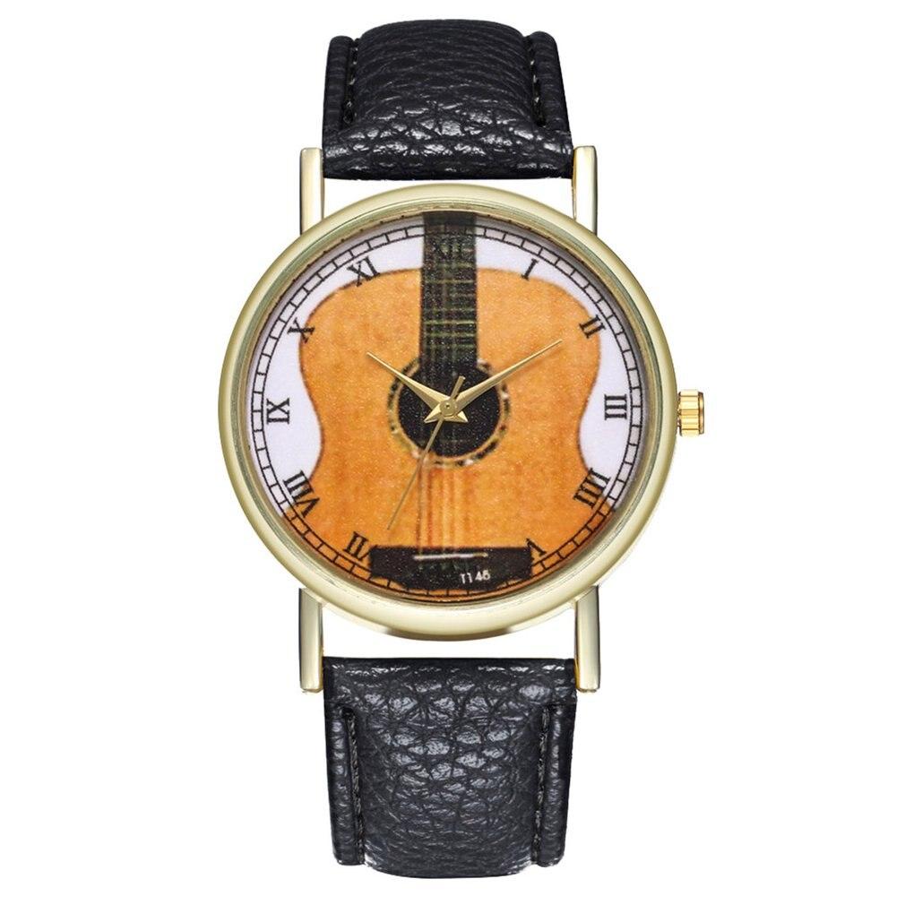 Unique Women Watch Leather Strap Guitar Pattern Wristwatch Strap Analog Quartz Dial Luxury For Trendy Men Women