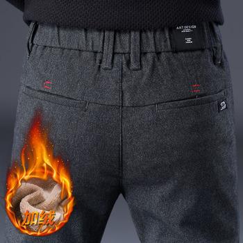 2019 marka męskie spodnie zimowe kaszmirowe spodnie męska odzież wierzchnia obcisłe spodnie aksamitne ocieplone spodnie męskie polarowe grube spodnie Pantalons Hommes tanie i dobre opinie Asstseries Ołówek spodnie COTTON Poliester Octan Heavyweight 9038-1 Na co dzień skinny Suknem Kieszenie Zipper fly Pełnej długości