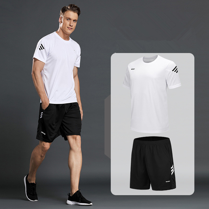 New Men Sportswear T-shirts Running Suits Mens Casual Shirts+Sports Shorts Fitness Gym Jogging Suits Sportsman Wear Large Size