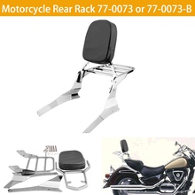 цена на Motorcycle Luggage Rack Rear Passenger Backrest Cushion Pad Black Chrome For Suzuki Intruder / Volusia VL800 VL400 Boulevard C50