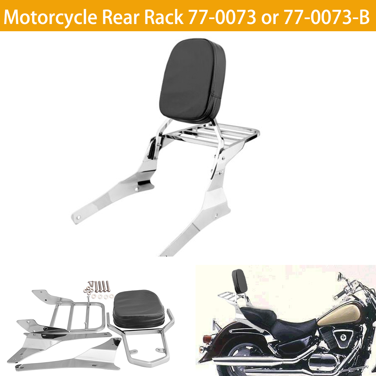Samger Motorcycle Passenger Sissy Bar Luggage Rear Rack Backrest For Suzuki Intruder / Volusia VL800 VL400 Boulevard C50