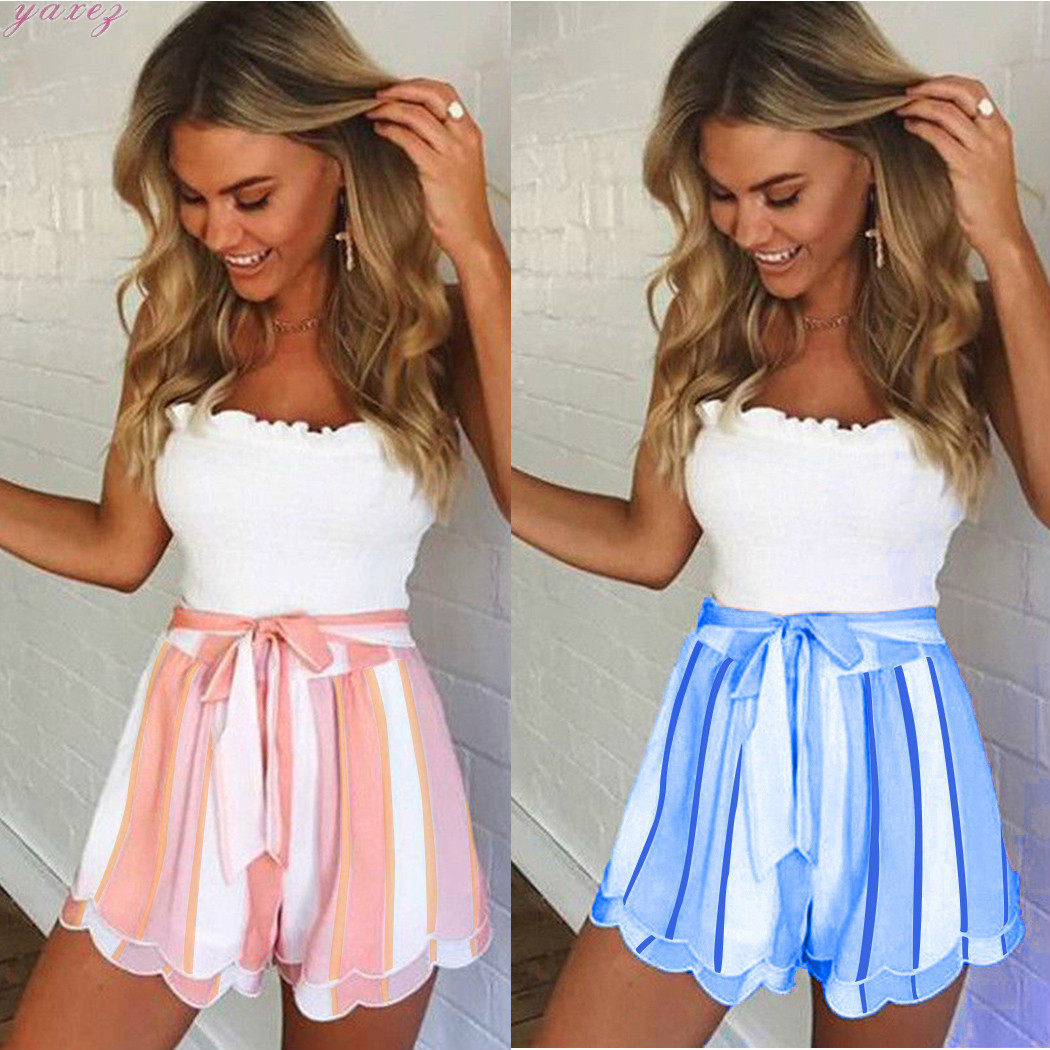 Summer Ruffle Belted Striped Shorts Women Fashion High Waist Bow Tie Loose Shorts Casual Pink Blue Ladies Boho Short Femme