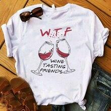 Women Lady T Shirt Wine Tasting Friends Printed Tshirt Ladies Short Sleeve Tee S
