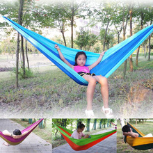 Portable Single / Double Bed Hammock Stripe  Hang Bed  230 * 140 cm Lazy Chair  Swing For Garden Travel Camping 200kg D30