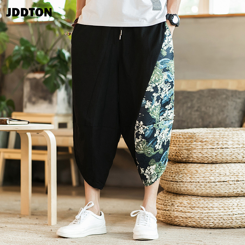 JDDTON 2020 Men Traditional Style Summer Big size Casual Calf-Length Pants Ethnic Style Print Patchwork Loose Male Trouser JE049