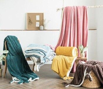 Thick Double Blanket Flannel Kids Warm Fleece Blanket Cover Soft Sofa Blanket Cushion