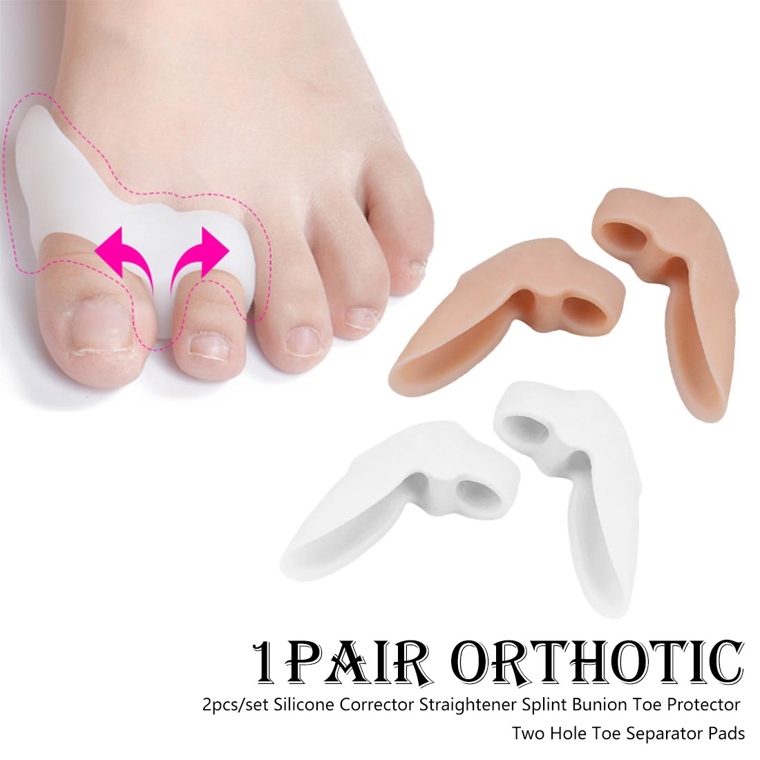 Daily Silicone Toe Big Bone 2 Pieces Toe Separator Silicone Gel Foot Fingers Two Hole Toe Separator Correct Orthotics