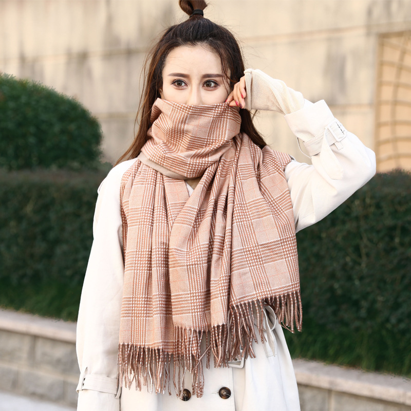 2020 Autumn And Winter New Female Imitation Cashmere Scarf Plaid Fringed Shawl Warm Dual-Use Scarf Neckerchief Шарфы Женские
