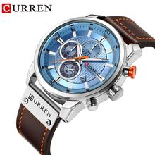 CURREN Mens Quartz Watches Sport Blue Waterproof Genuine Leather Top Brand Luxury Men Business Chronograph Clock