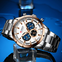 CURREN 럭셔리 남성용 스테인레스 스틸 밴드 손목 시계 캐주얼 패션 쿼츠 시계 남성용 크로노 그래프 시계 날짜