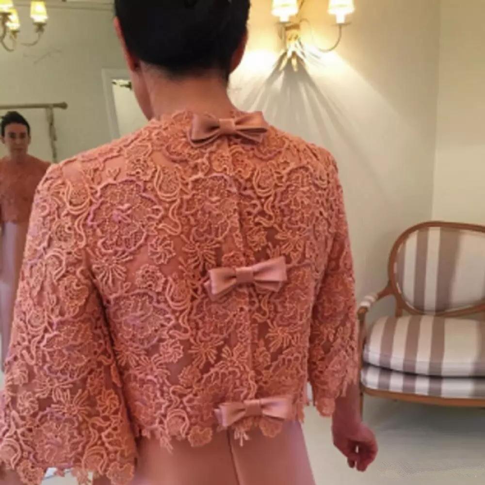 Mère de la robe de mariée avec dentelle veste 3/4 à manches longues Satin une ligne étage longueur formelle robe de soirée fête personnaliser - 4