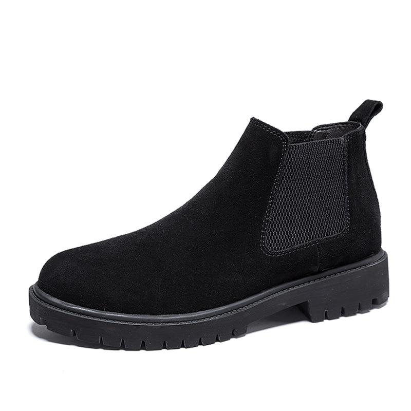 England design men's casual chelsea boots cow suede leather shoes slip-on platform ankle boot zapatos de hombre botines botas