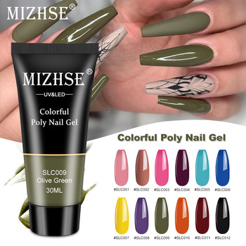 MIZHSE Nail Extension Poly Gel Set With Tips Dual Form Qiuck Dry Soak Off UV Builder Art